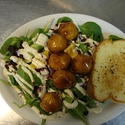 Honey Garlic Chicken Balls Spinach Salad